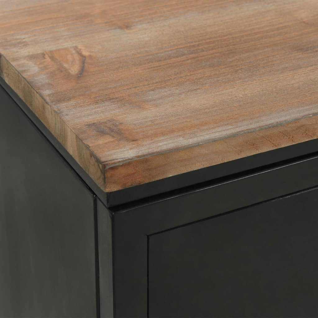 Double Pedestal Desk Solid Firwood and Steel 120x50x76 cm 2