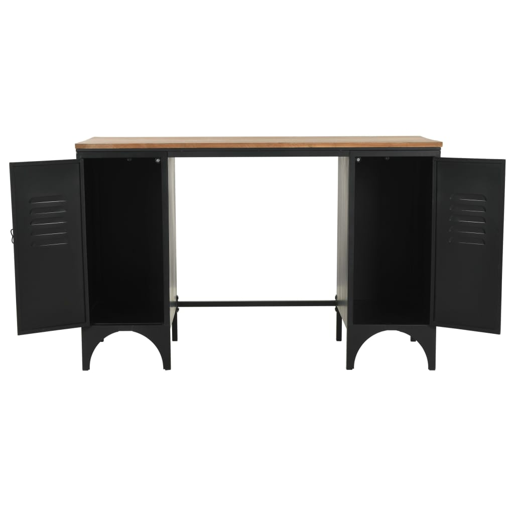 Double Pedestal Desk Solid Firwood and Steel 120x50x76 cm 11