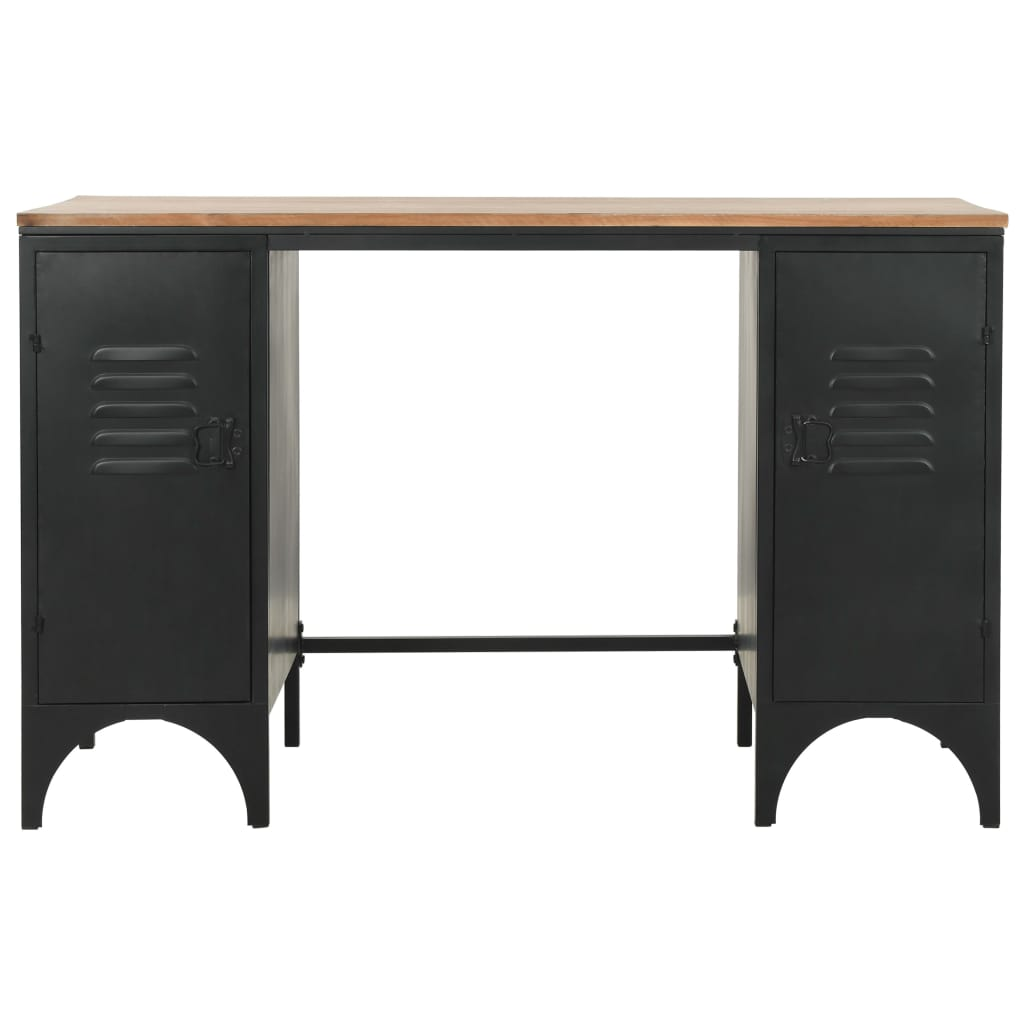 Double Pedestal Desk Solid Firwood and Steel 120x50x76 cm 5