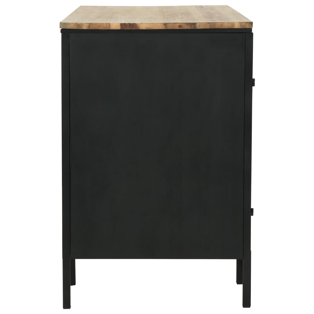 Double Pedestal Desk Solid Firwood and Steel 120x50x76 cm 9