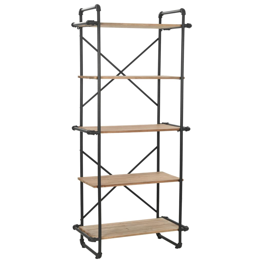 Bookcase Solid Firwood and Steel 80x42x180 cm 1