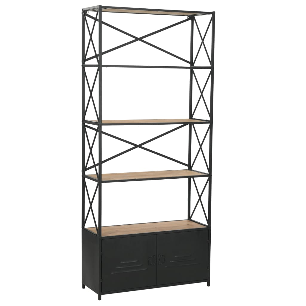 Bookcase Solid Firwood and Steel 80×32