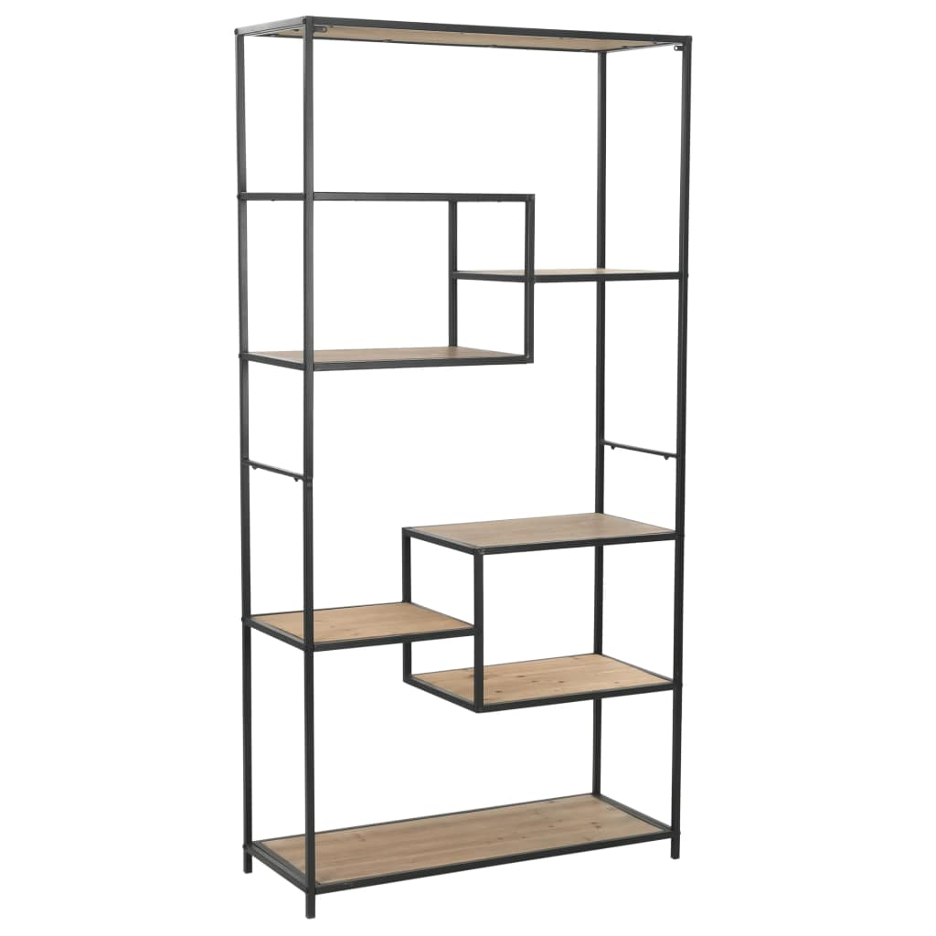 Bookcase Solid Firwood and Steel 90.5x35x180 cm