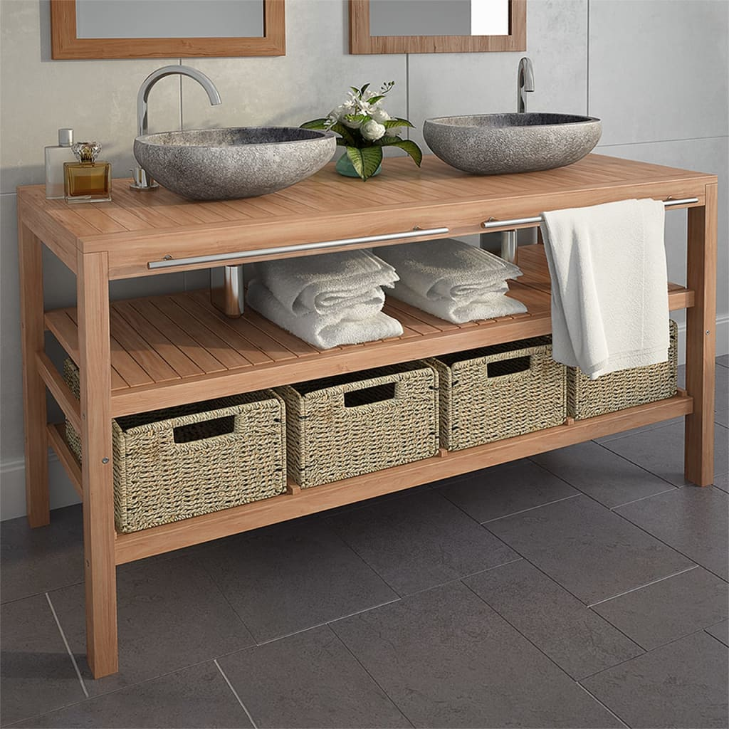 Bathroom Vanity Cabinet with 4 Baskets Solid Teak 132x45x75 cm 1