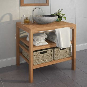 Bathroom Vanity Cabinet Solid Teak with Riverstone Sink 1