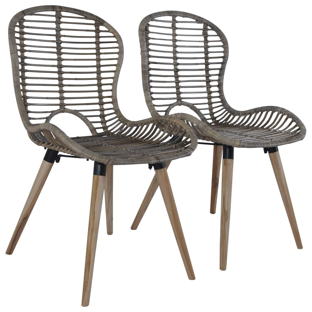 Dining Chairs 2 pcs Brown Natural Rattan 1