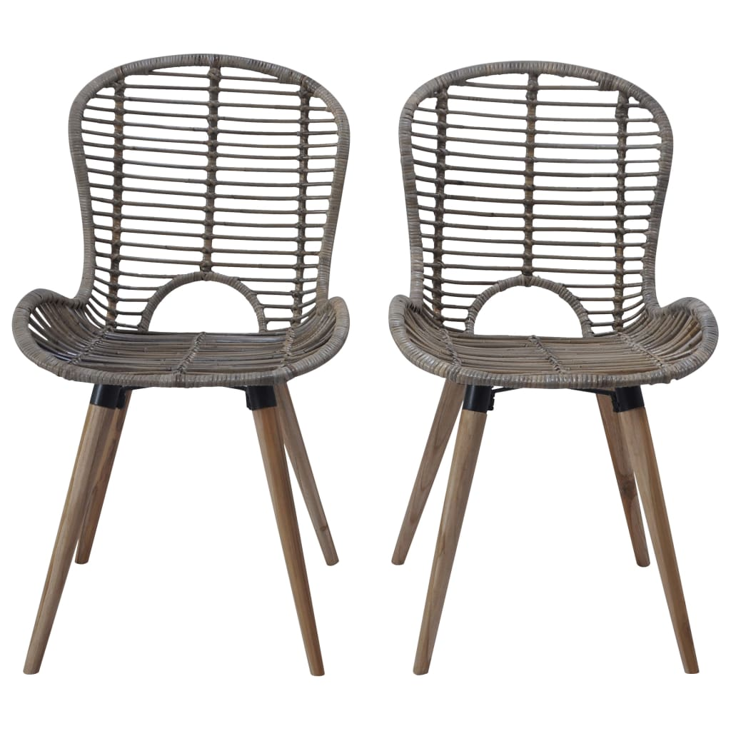 Dining Chairs 2 pcs Brown Natural Rattan 2
