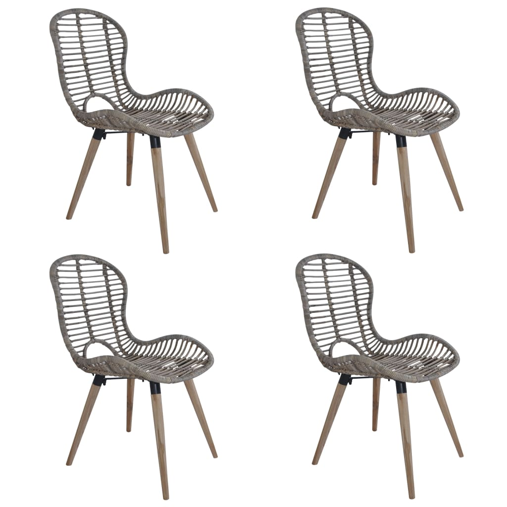 Dining Chairs 4 pcs Brown Natural Rattan 1