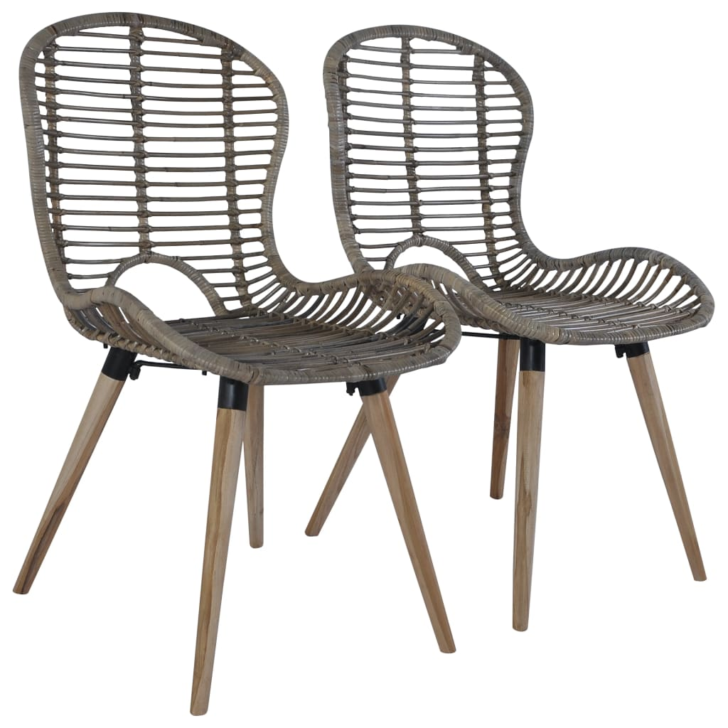 Dining Chairs 4 pcs Brown Natural Rattan 2