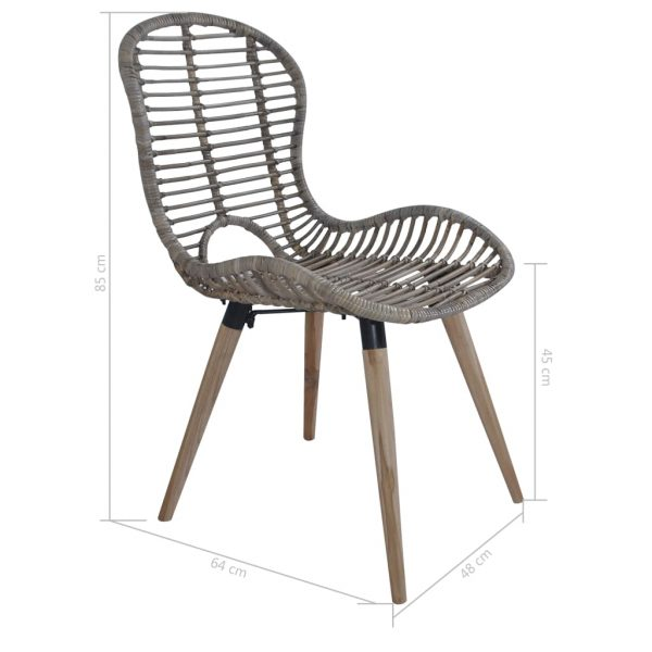 Dining Chairs 4 pcs Brown Natural Rattan 7