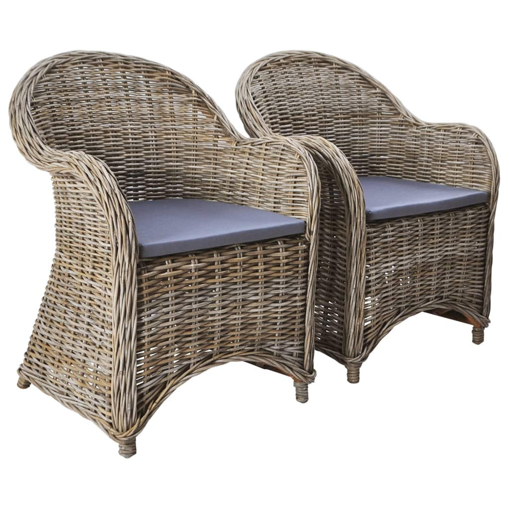 Outdoor Chairs 2 pcs with Cushions Natural Rattan 1