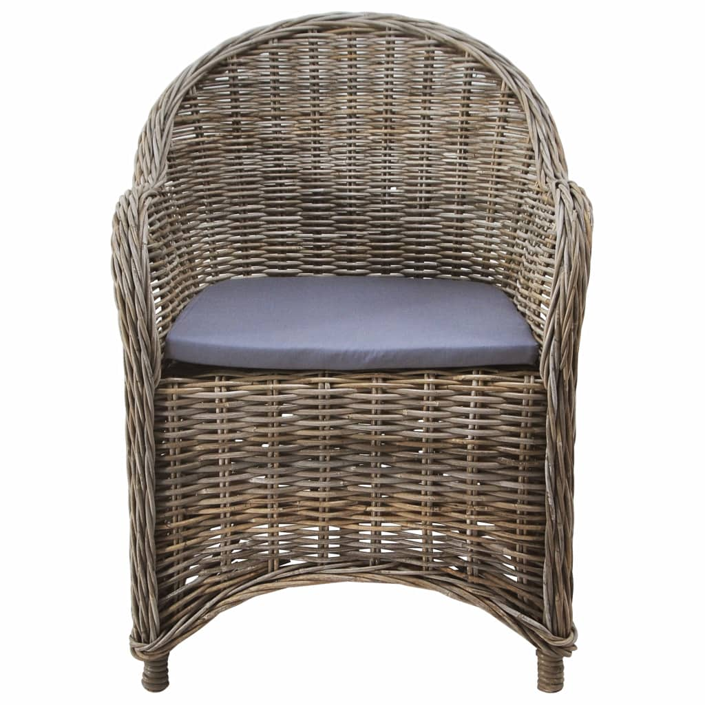 Outdoor Chairs 2 pcs with Cushions Natural Rattan 2