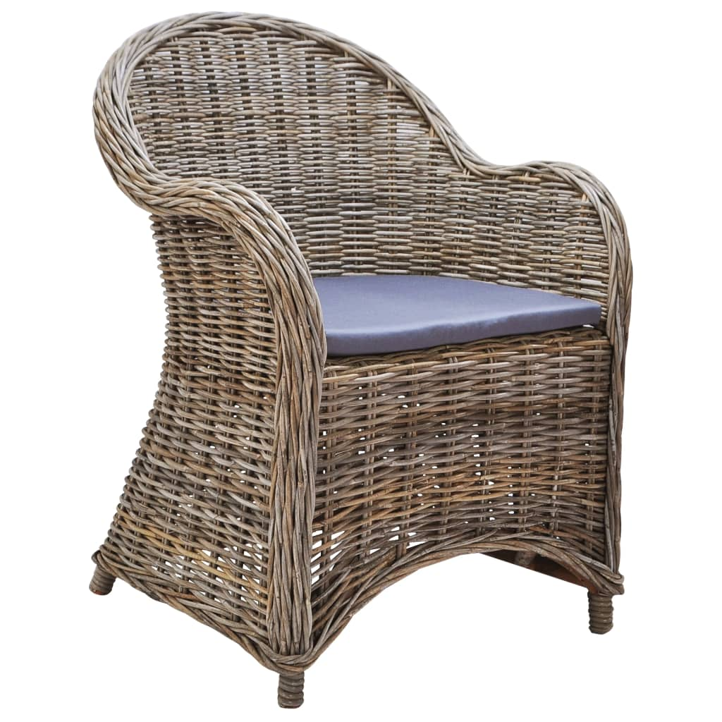 Outdoor Chairs 2 pcs with Cushions Natural Rattan 3