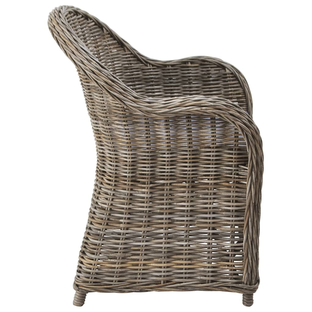 Outdoor Chairs 2 pcs with Cushions Natural Rattan 4