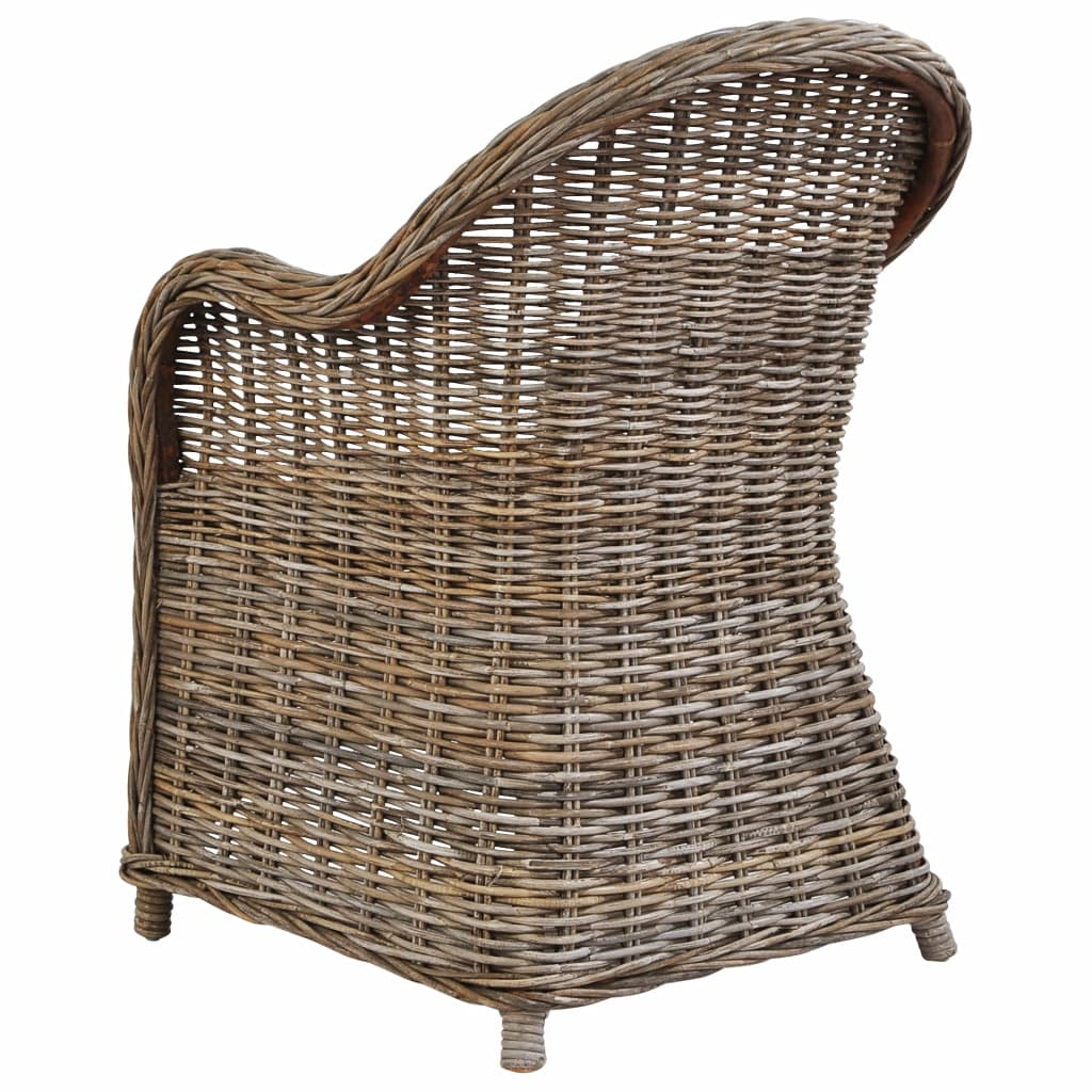 Outdoor Chairs 2 pcs with Cushions Natural Rattan 5