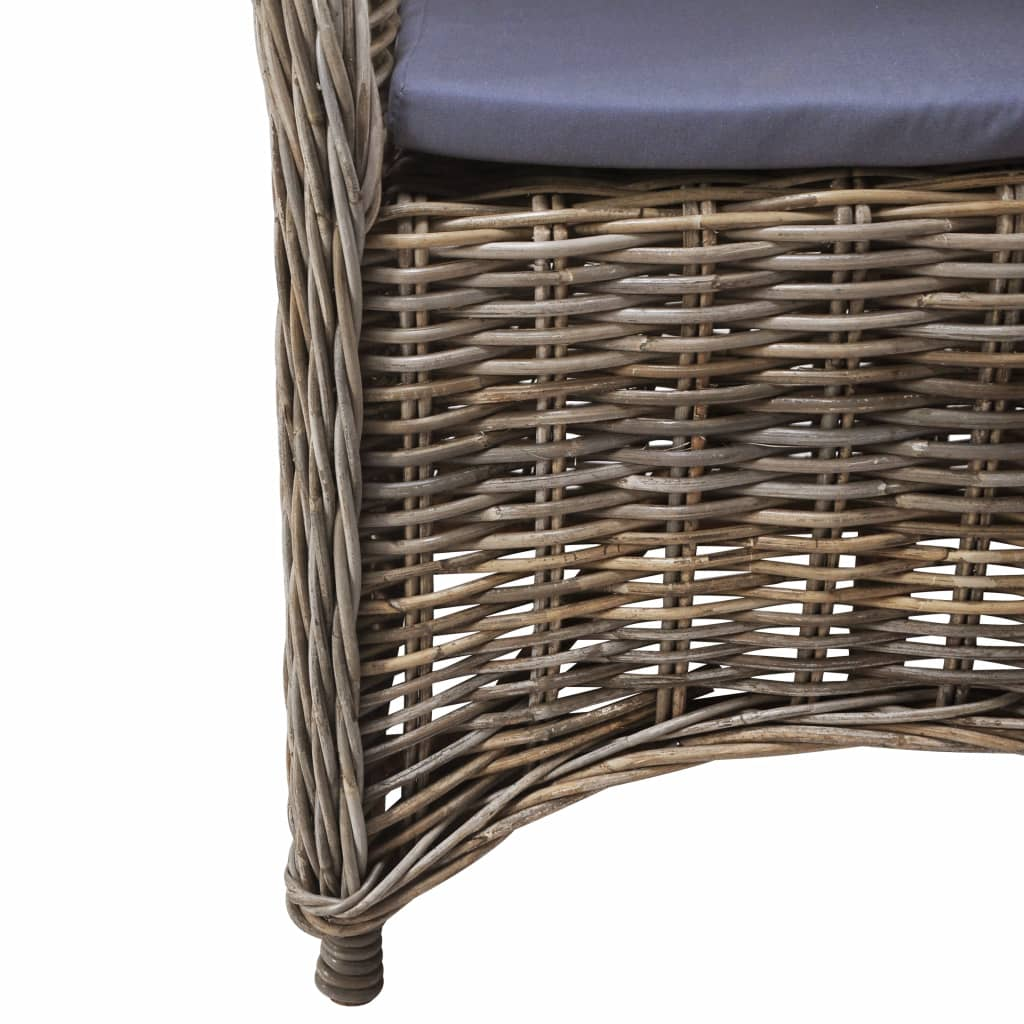 Outdoor Chairs 2 pcs with Cushions Natural Rattan 6