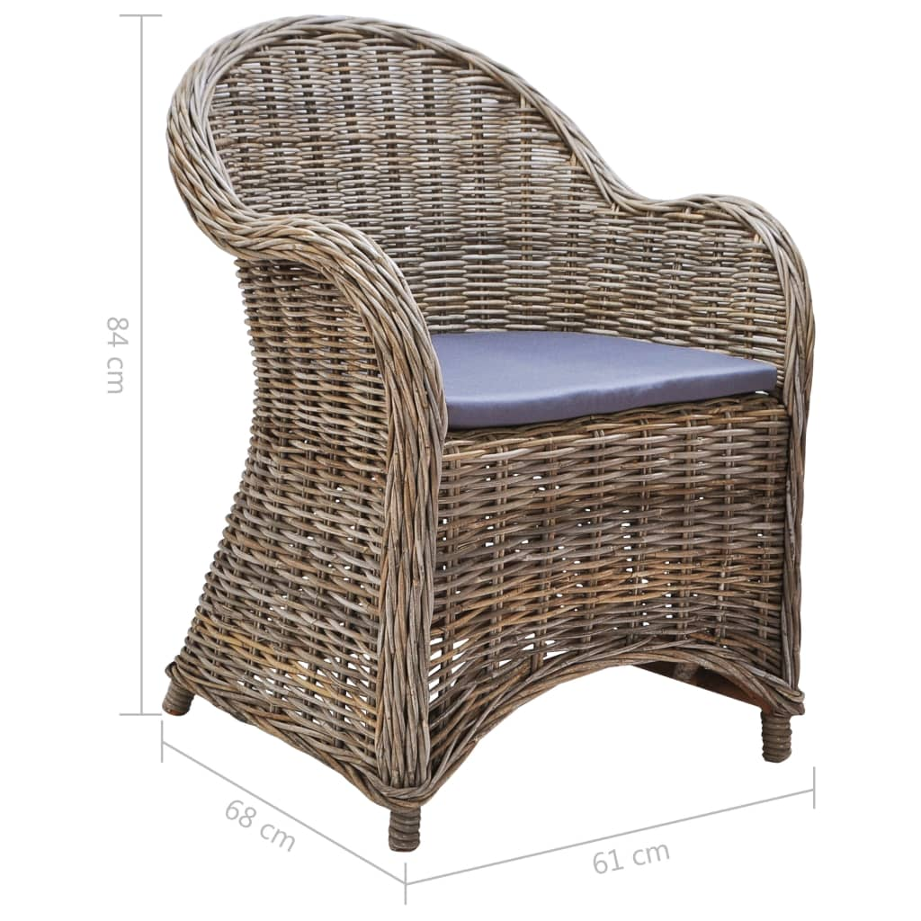 Outdoor Chairs 2 pcs with Cushions Natural Rattan 7