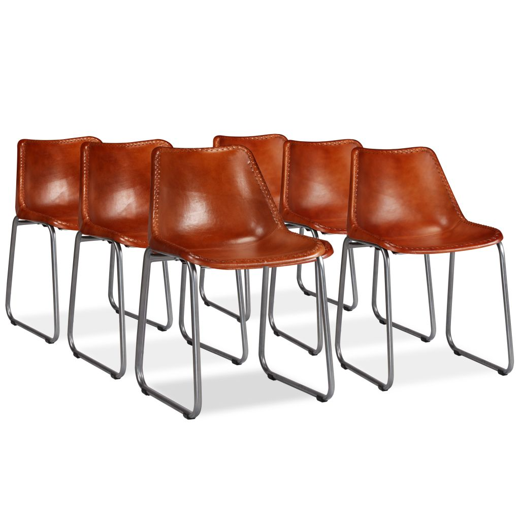 Dining Chairs 6 pcs Brown Real Leather