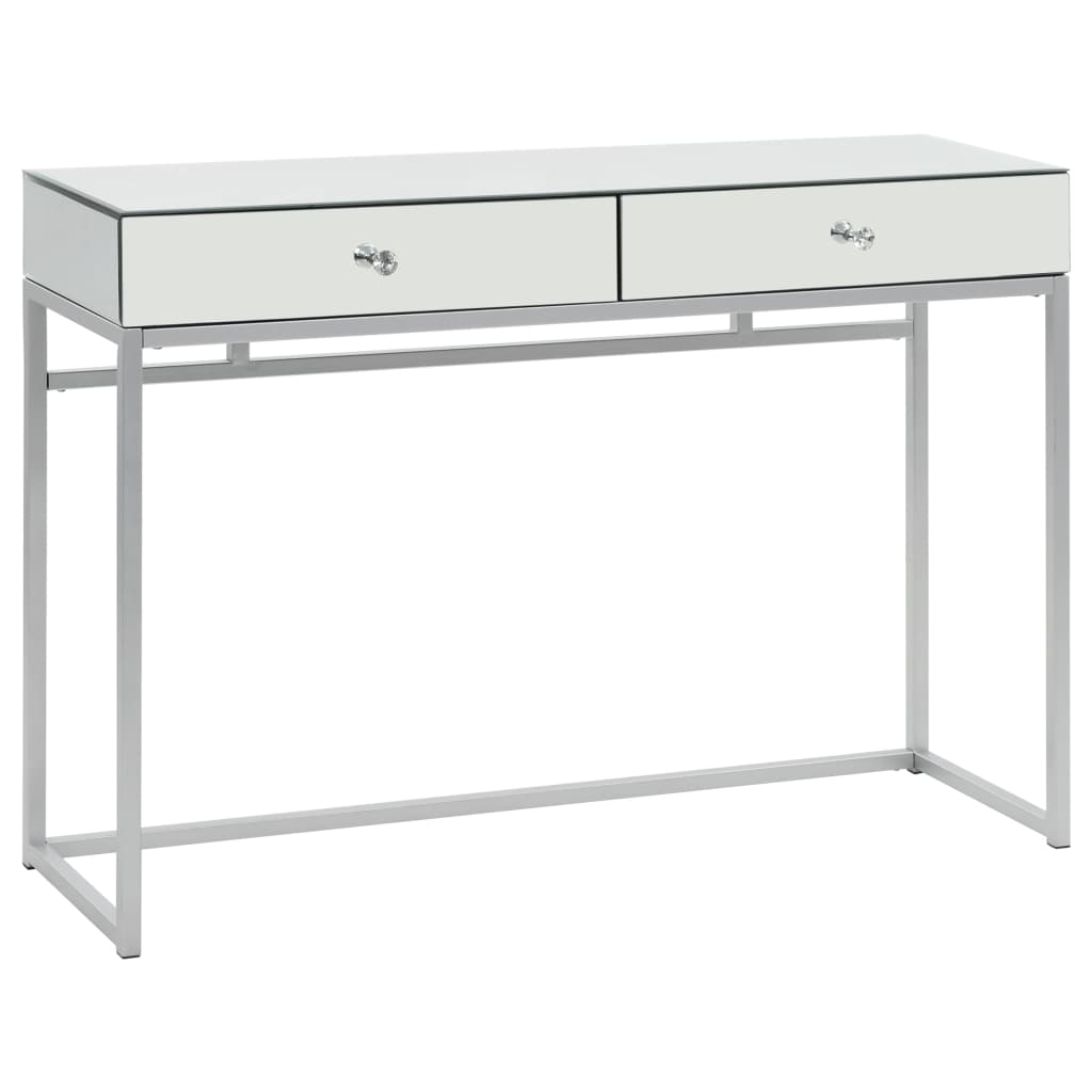 Mirrored Console Table Steel and Glass 107x33x77 cm 1