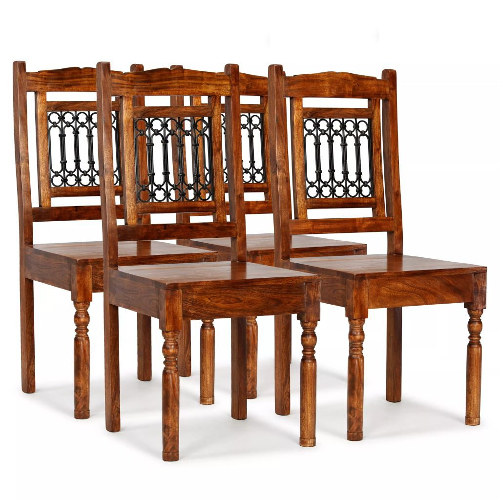 Dining Chairs 4 pcs Solid Wood with Sheesham Finish Classic