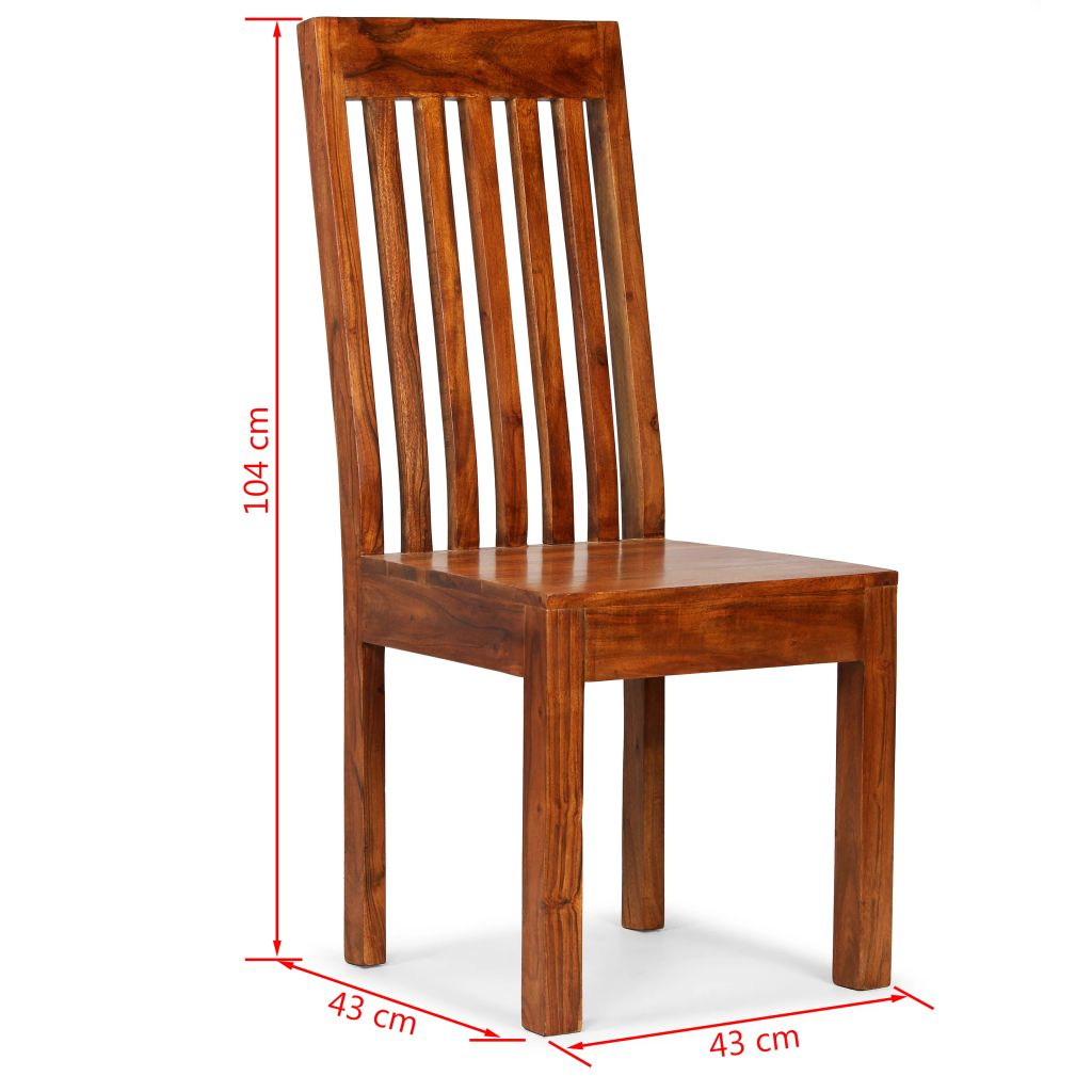 Dining Chairs 6 pcs Solid Wood with Sheesham Finish Modern 10