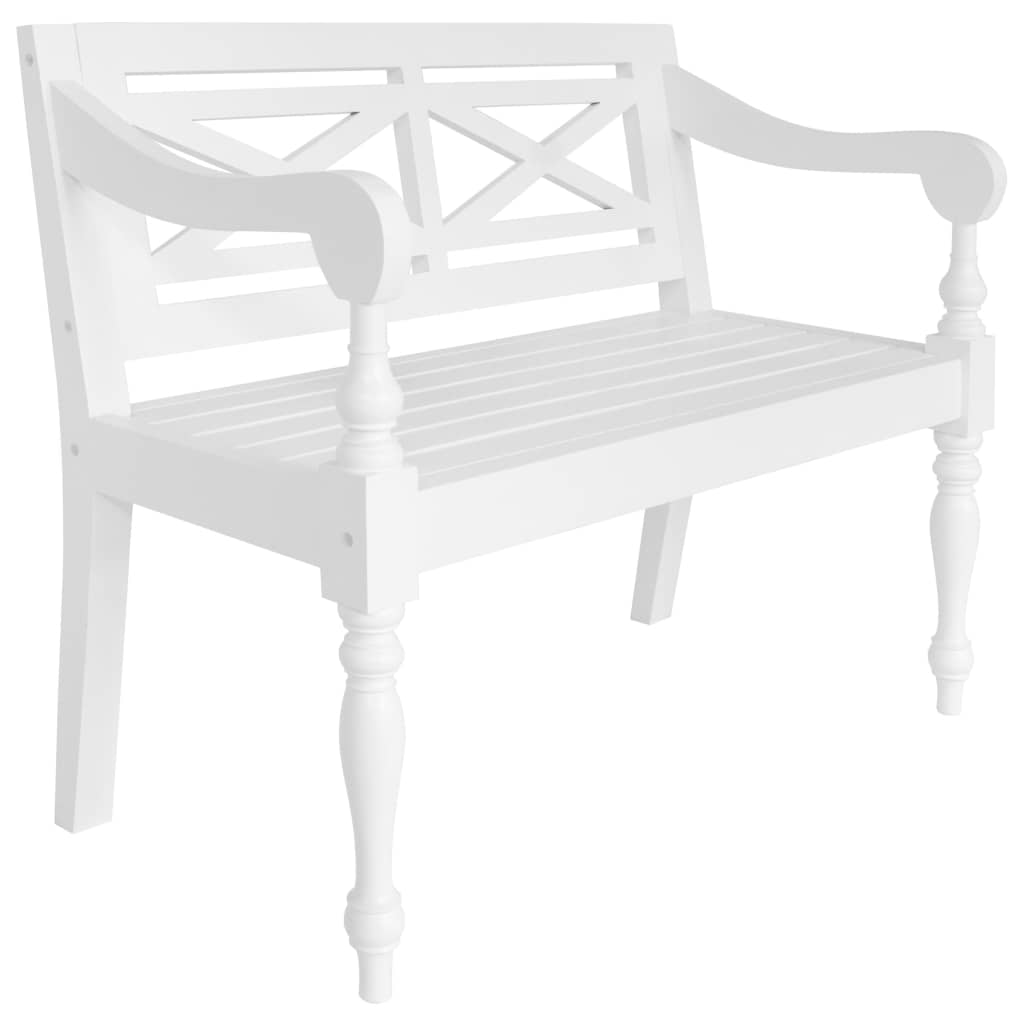 Batavia Bench 98 cm Solid Mahogany Wood White 1