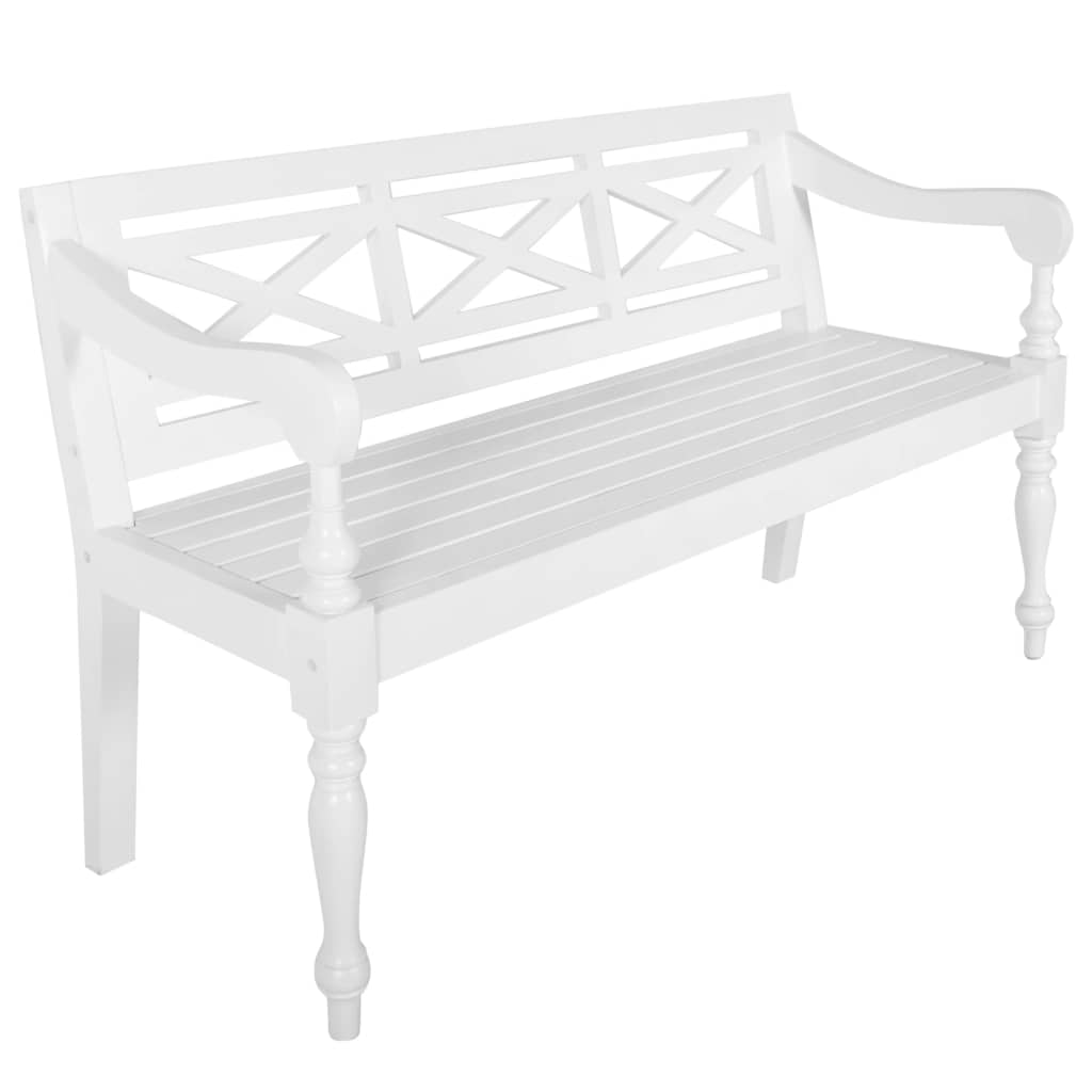 Batavia Bench 136 cm Solid Mahogany Wood White 1