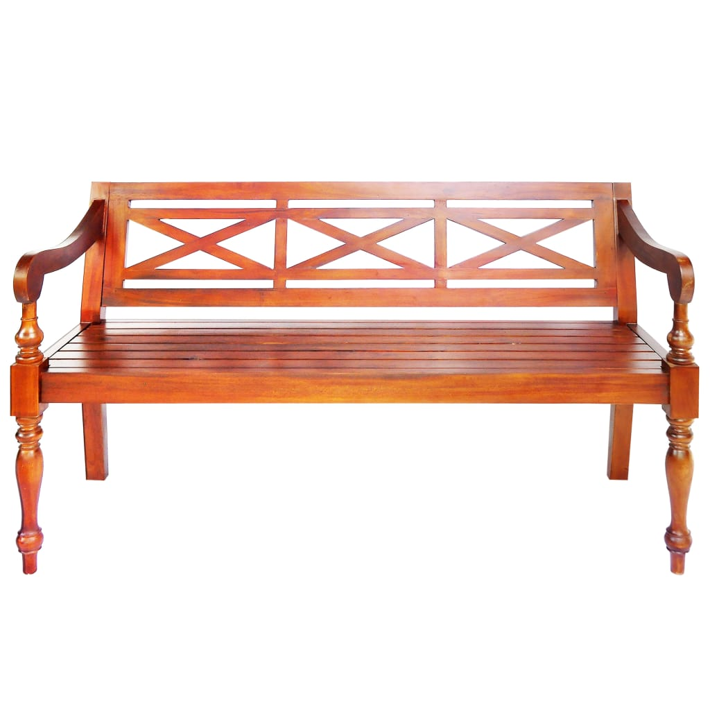 Batavia Bench 136 cm Solid Mahogany Wood Dark Brown 2