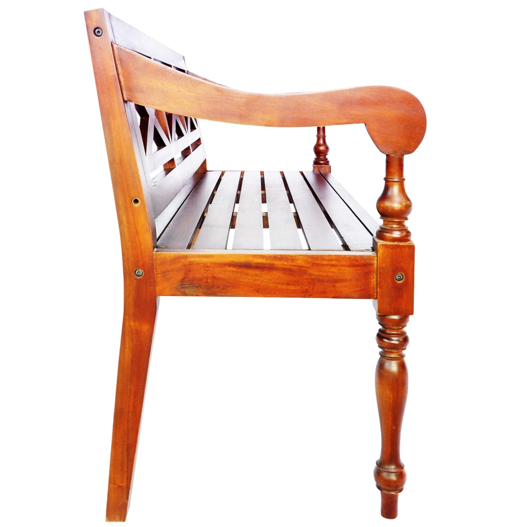 Batavia Bench 136 cm Solid Mahogany Wood Dark Brown 3