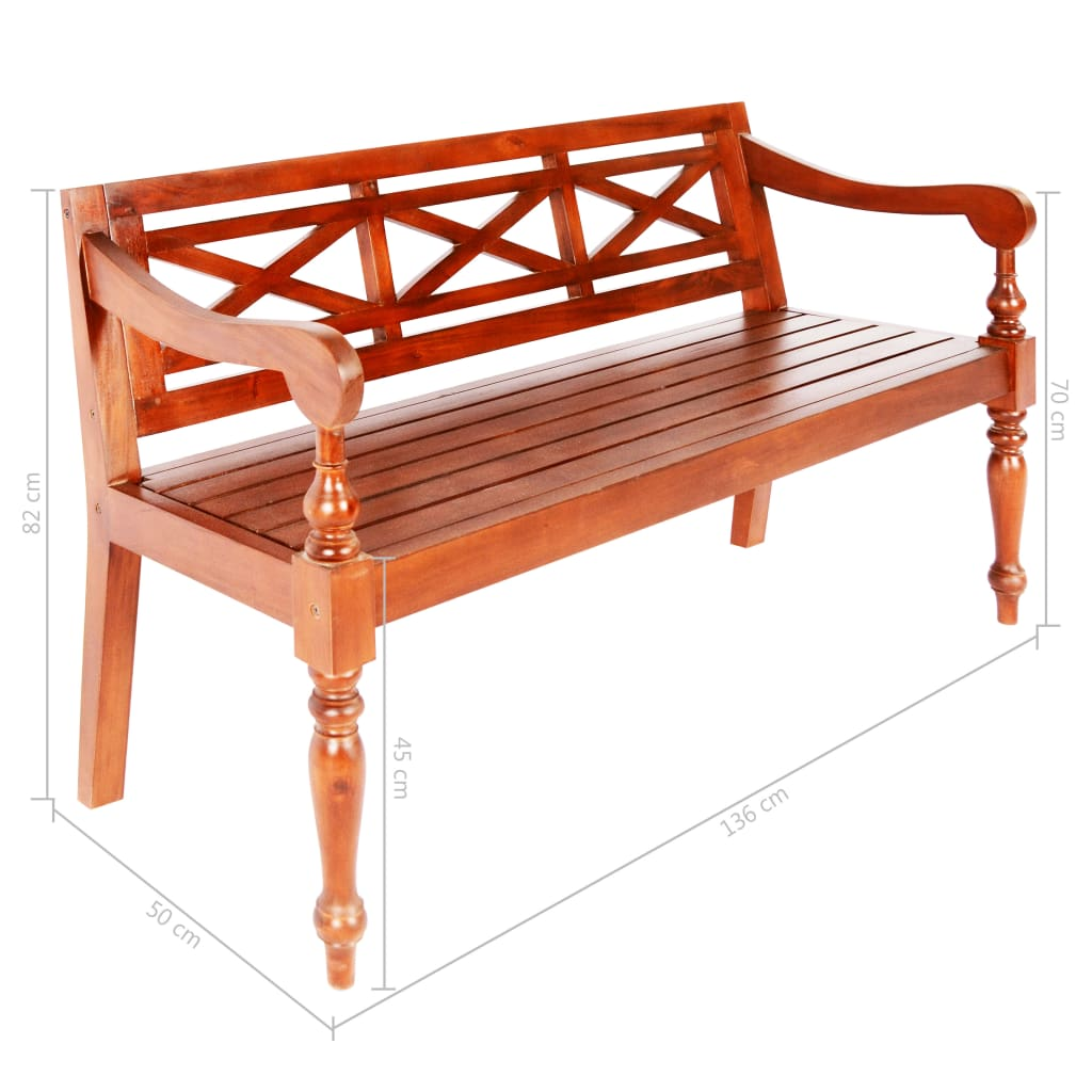 Batavia Bench 136 cm Solid Mahogany Wood Dark Brown 6