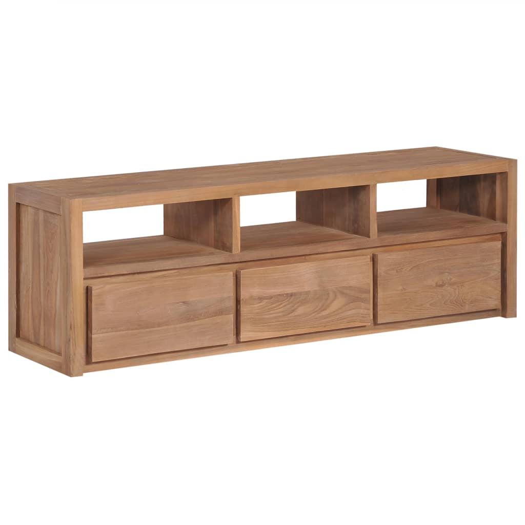 TV Cabinet Solid Teak Wood with Natural Finish 120x30x40 cm