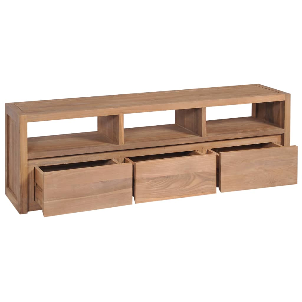 TV Cabinet Solid Teak Wood with Natural Finish 120x30x40 cm 2