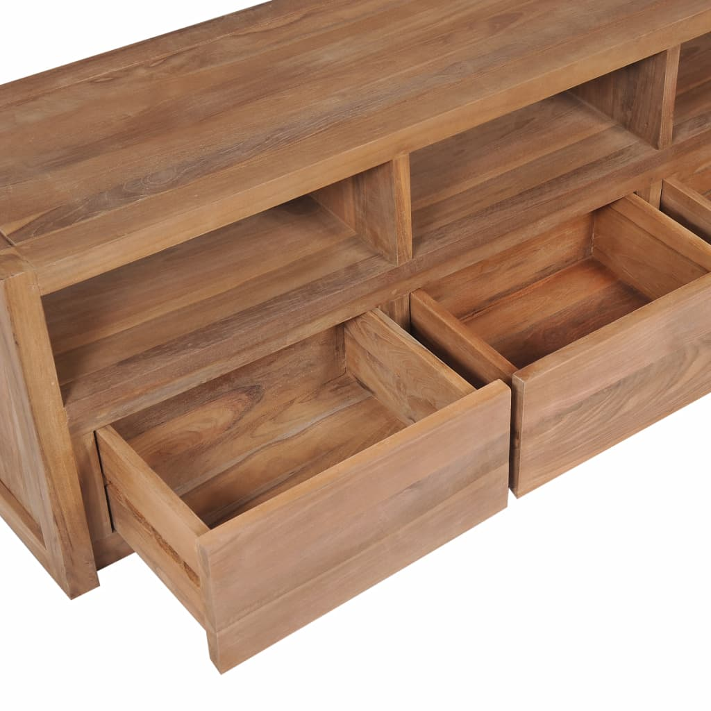 TV Cabinet Solid Teak Wood with Natural Finish 120x30x40 cm 5