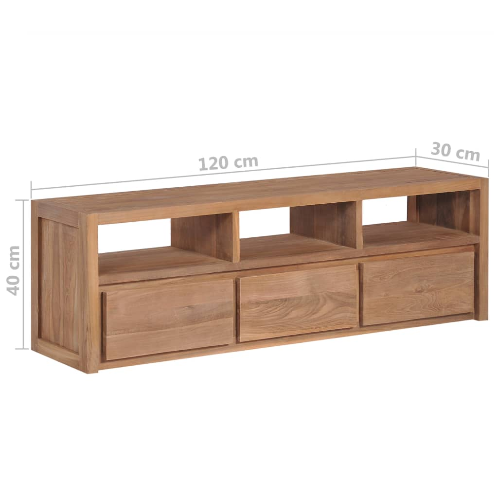 TV Cabinet Solid Teak Wood with Natural Finish 120x30x40 cm 10
