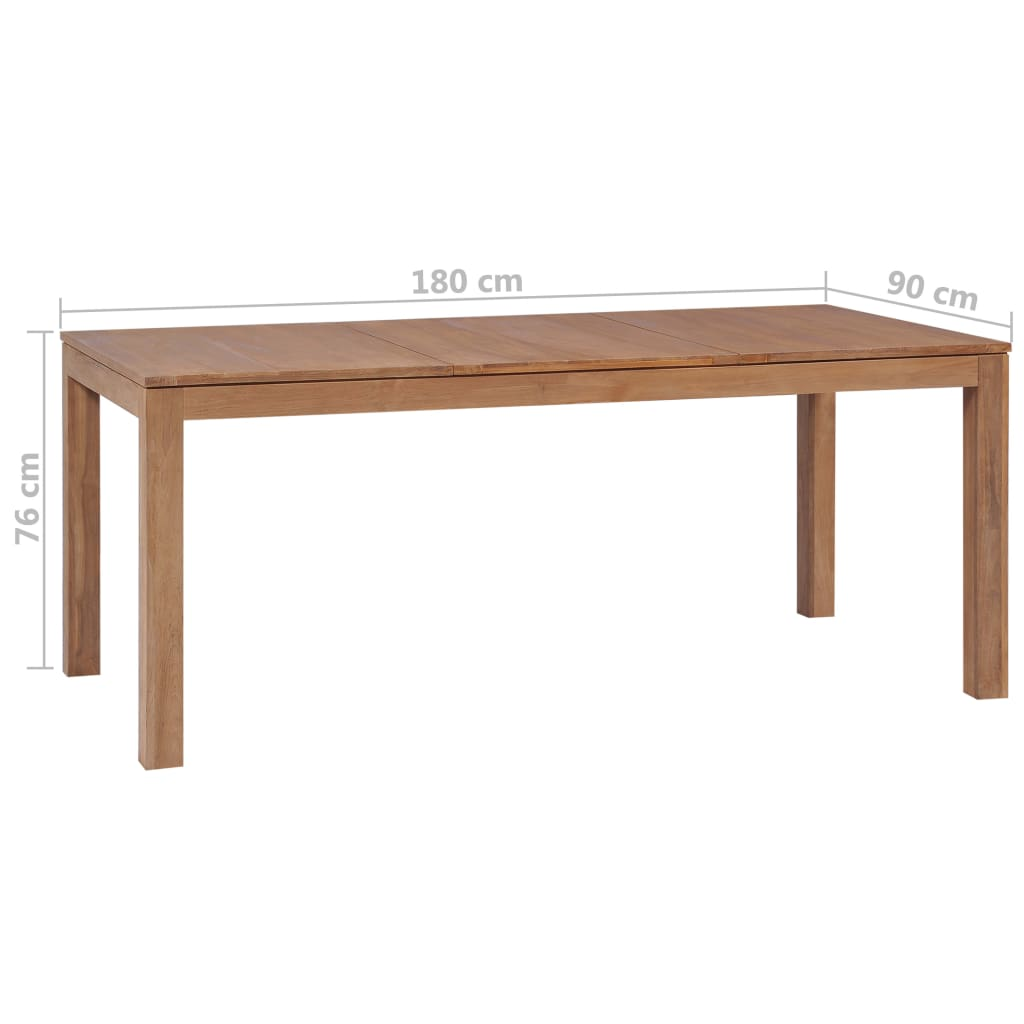 Dining Table Solid Teak Wood with Natural Finish 180x90x76 cm 7