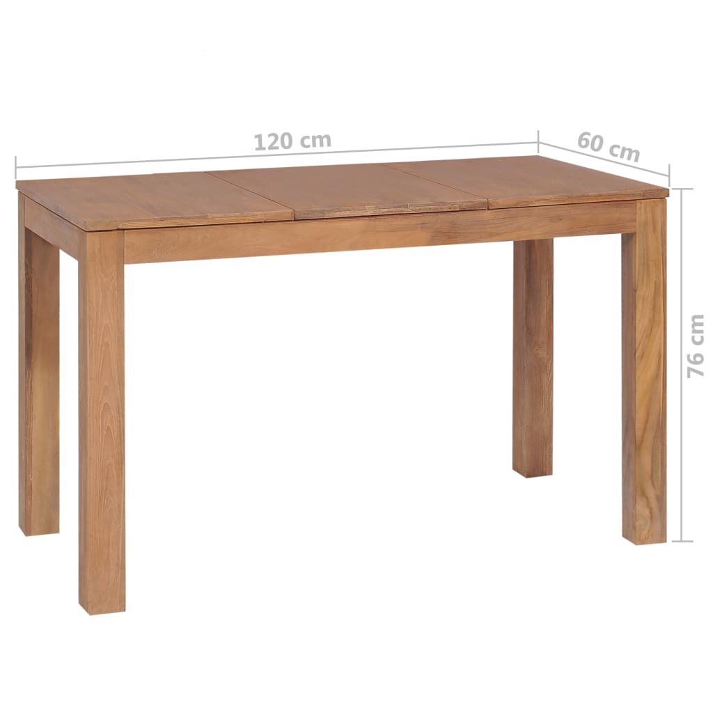 Dining Table Solid Teak Wood with Natural Finish 120x60x76 cm 8