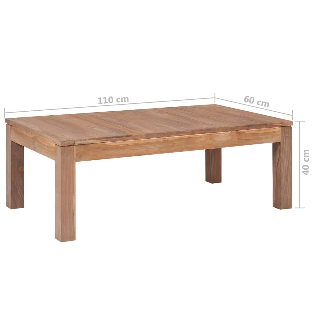 Coffee Table Solid Teak Wood with Natural Finish 110x60x40 cm 8
