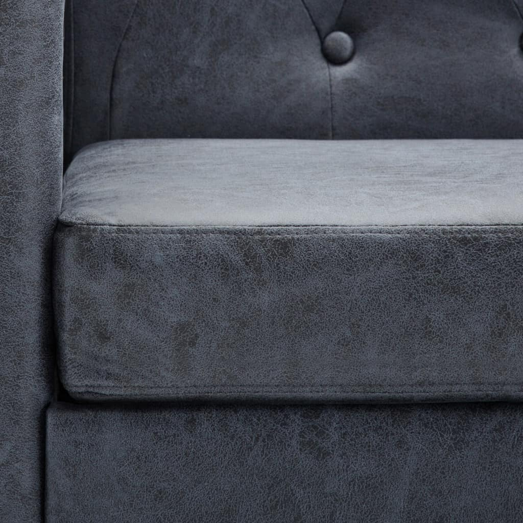 3-Seater Chesterfield Sofa Artificial Suede Leather Grey 3