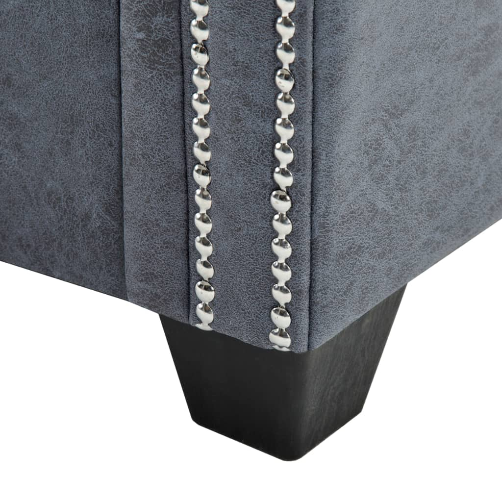 3-Seater Chesterfield Sofa Artificial Suede Leather Grey 7