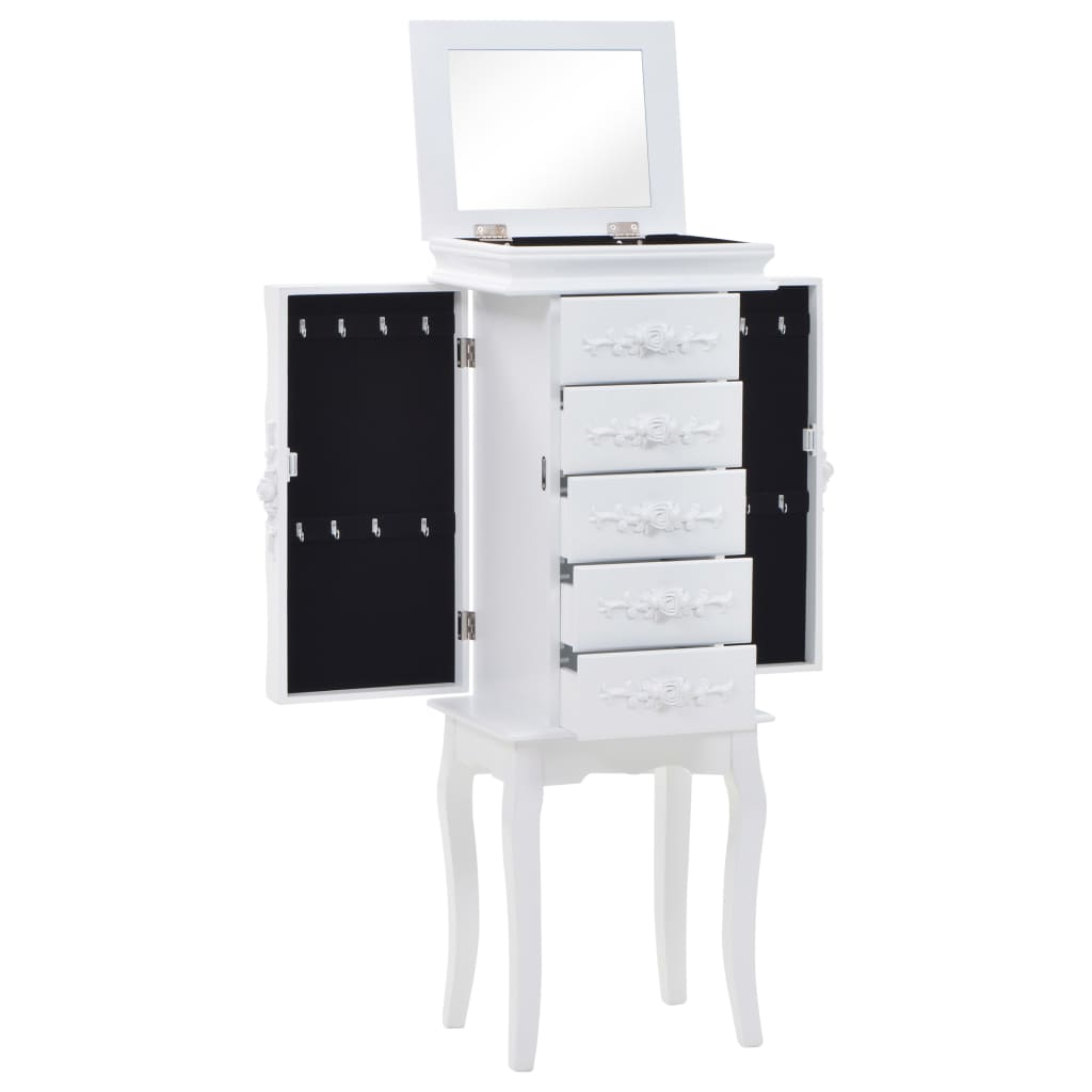 Free Standing Jewelery Cabinet White 1