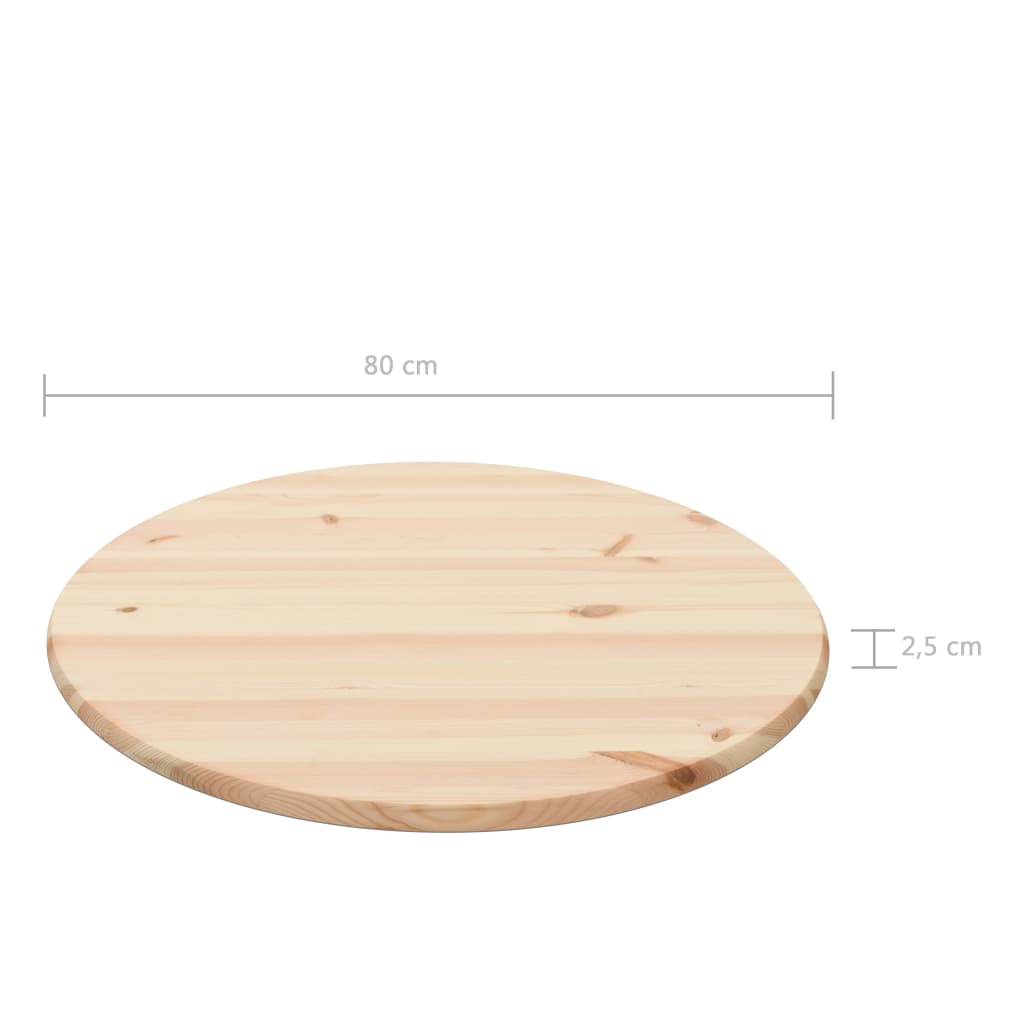 Table Top Natural Pinewood Round 25 mm 80 cm 4