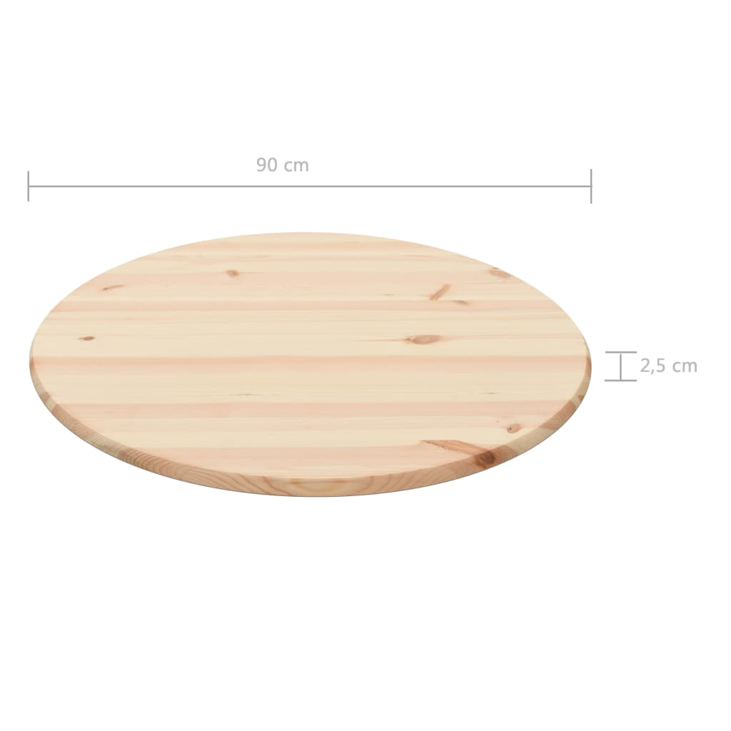 Table Top Natural Pinewood Round 25 mm 90 cm 4