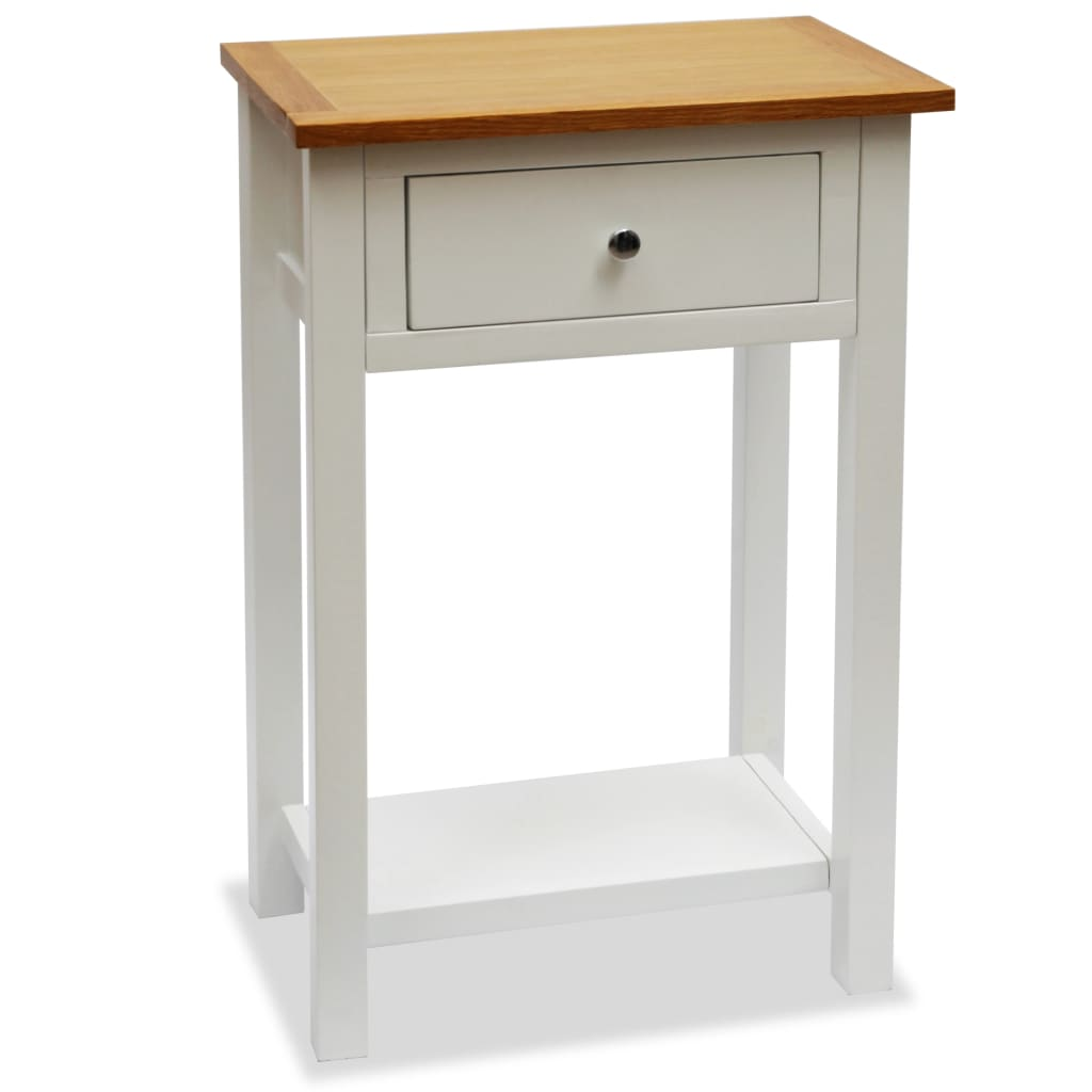 End Table 50x32x75 cm Solid Oak Wood 1