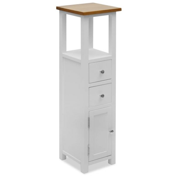 Tall Chest of Drawers 26x26x94 cm Solid Oak Wood 1