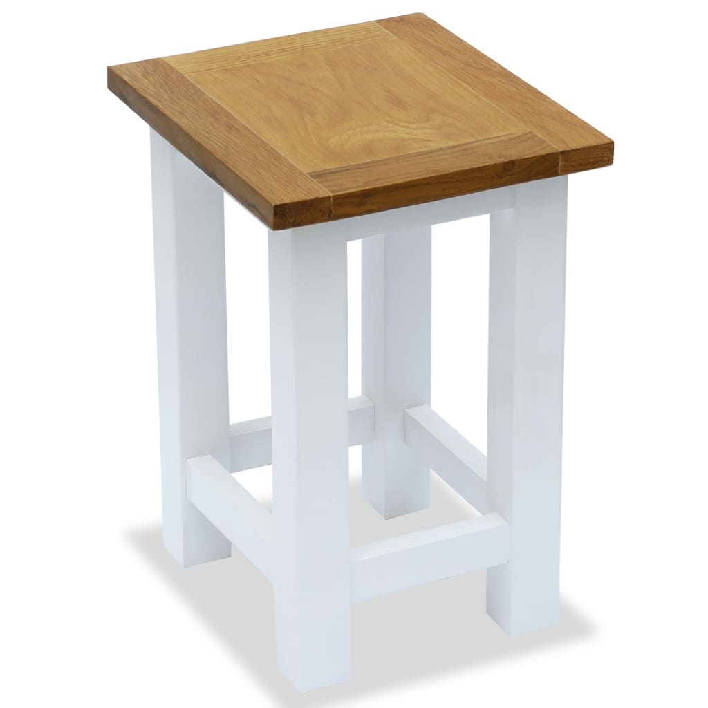 End Table 27x24x37 cm Solid Oak Wood 1