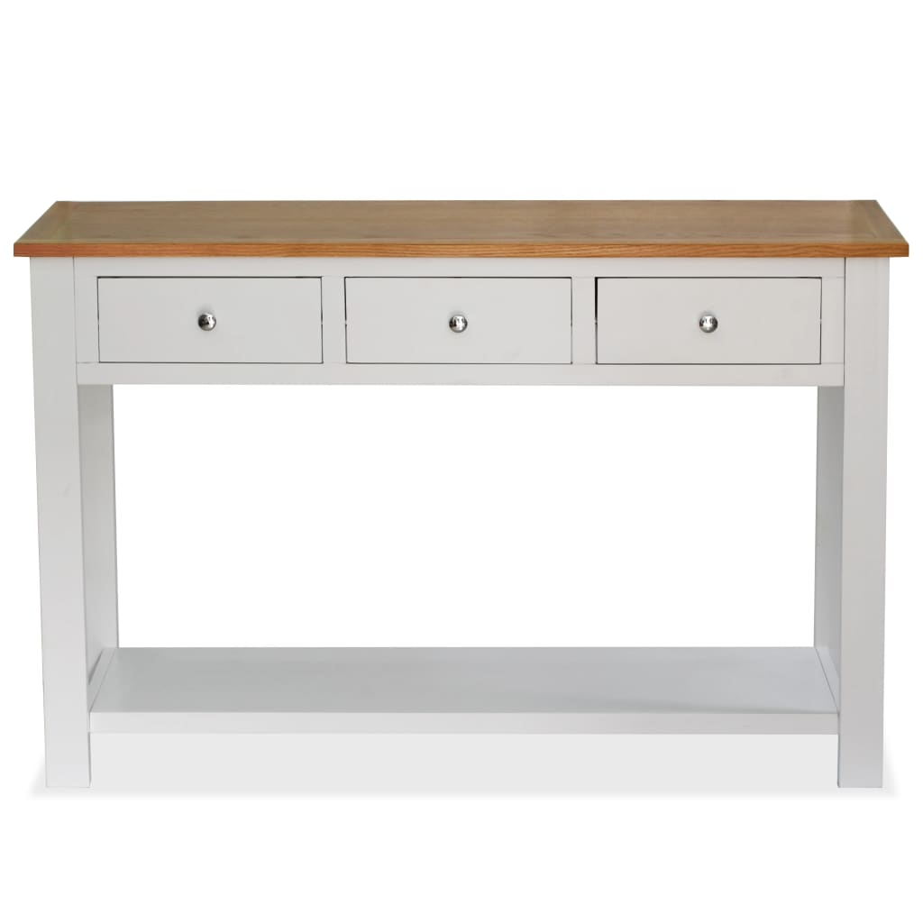 Console Table 118x35x77 cm Solid Oak Wood 3