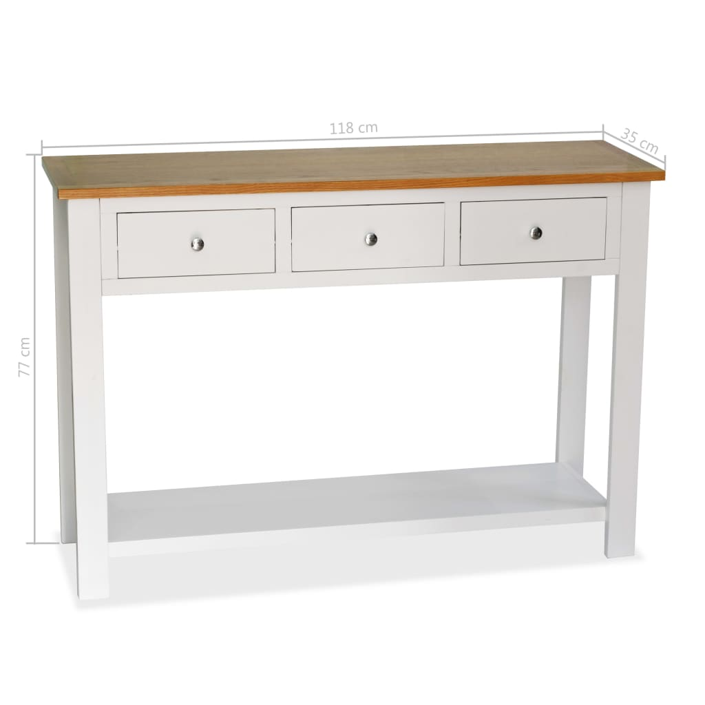 Console Table 118x35x77 cm Solid Oak Wood 6