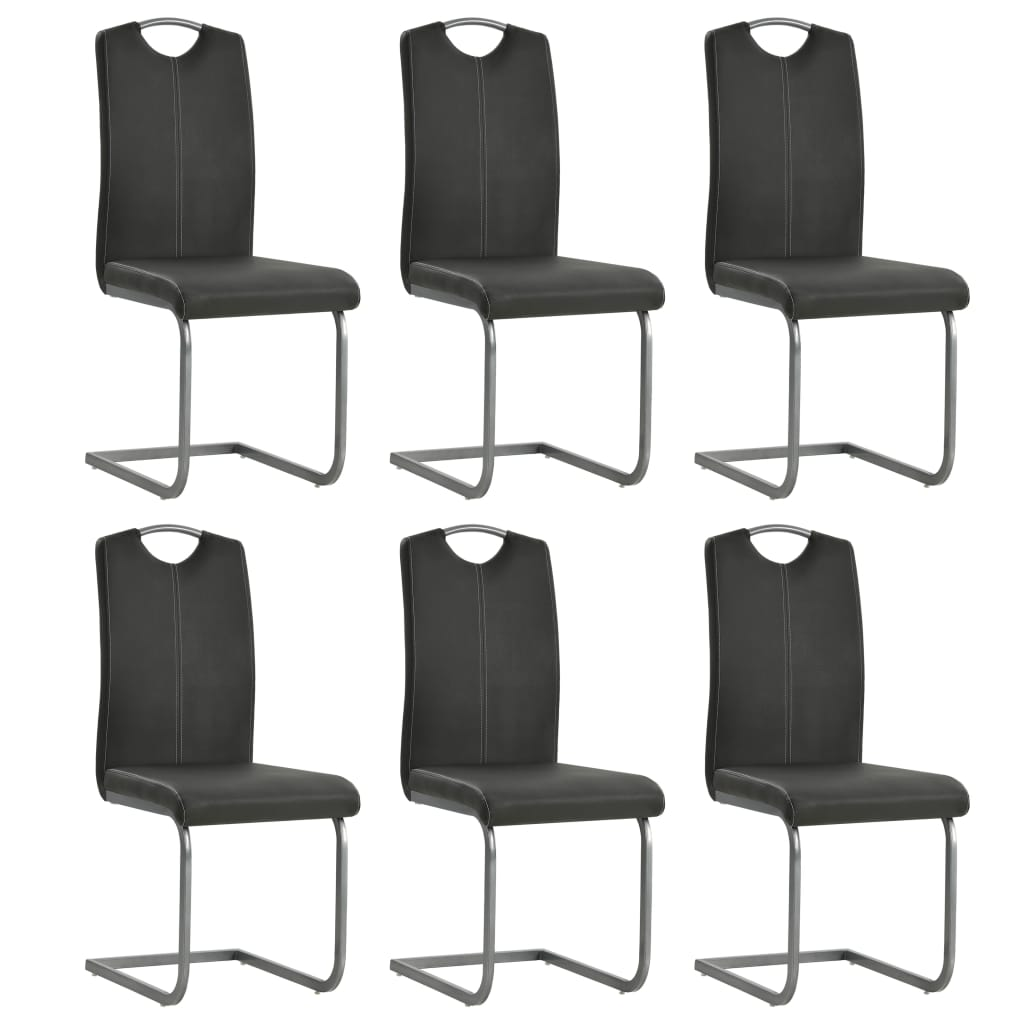 Dining Chairs 6 pcs Grey Faux Leather 1