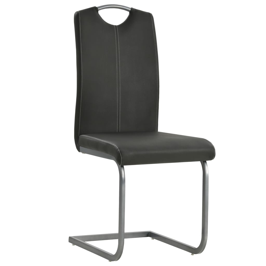Dining Chairs 6 pcs Grey Faux Leather 3