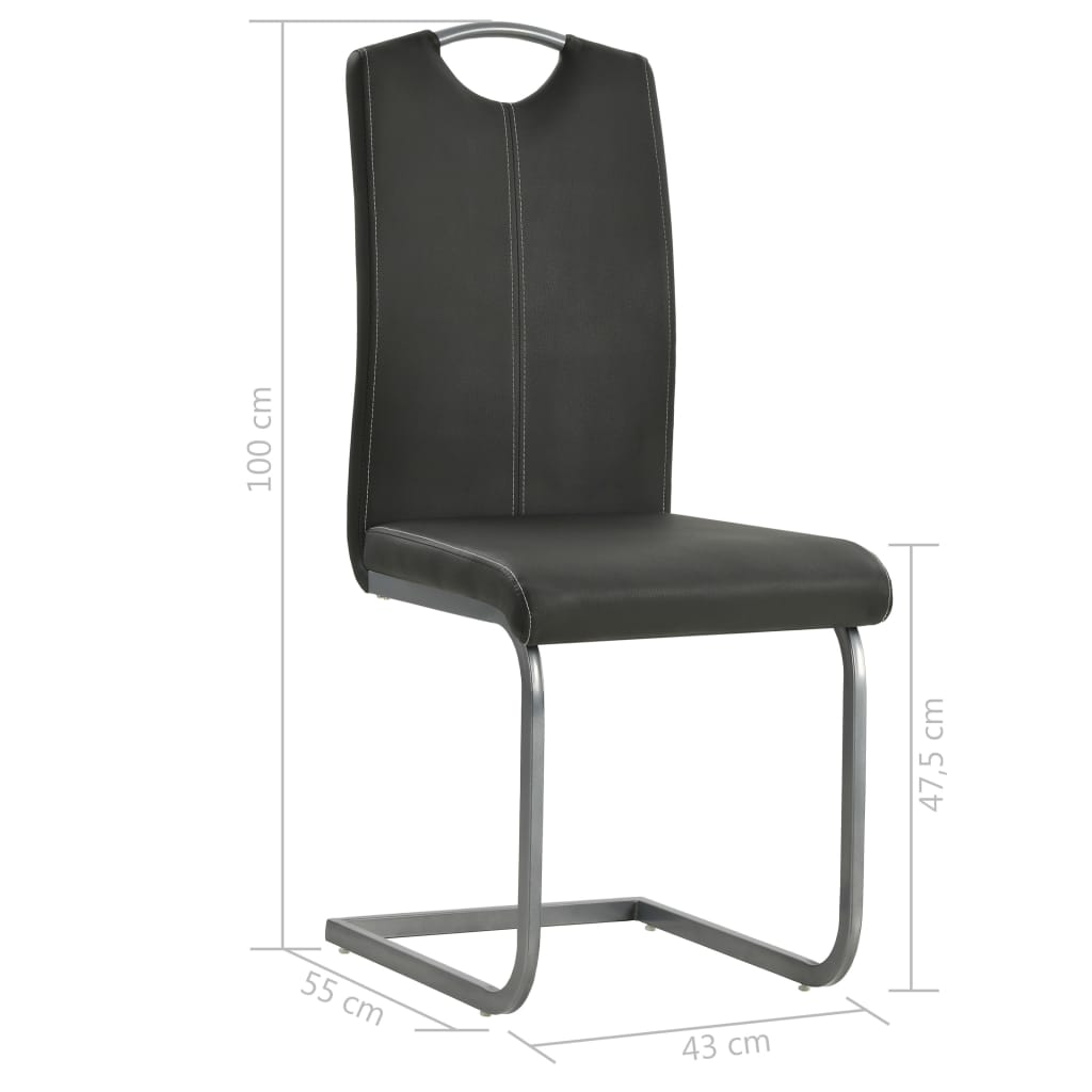 Dining Chairs 6 pcs Grey Faux Leather 8